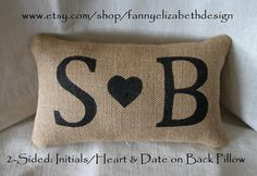 2Sided Initial/Date Pillow FREE SHIPPING by FannyElizabethDesign, $35.00