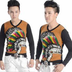 Mens Black Russet Knit Long Sleeve Exotic Tribal Print Hippie Top SKU-11409320