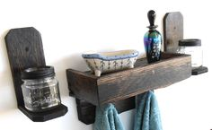 Handcrafted Primitive / Rustic Pallet Wood Wall Shelf and Sconce Set - pinned by pin4etsy.com