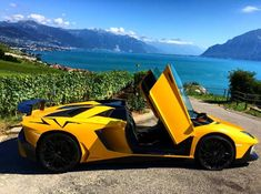 Lamborghini Aventador Super Veloce Roadster painted in Giallo Orion Photo taken by: @rana65556 on Instagram (He is also the owner of the car)