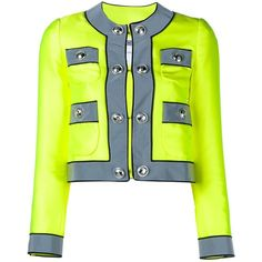 Moschino Embellished-Button Neon Jacket ($1,760) ❤ liked on Polyvore featuring outerwear, jackets, multicolour, cropped jacket, grey jacket, colorful jackets, gray jacket and embellished jacket