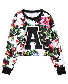 Flowers & Letter Print Cropped Loose Sweatshirt