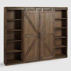 Wood Farmhouse Barn Door Bookcase - v1