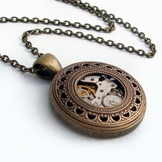 Captured in Time - Steampunk Necklace Bronze Jewelry Pendant.