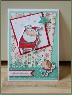 Ja Ja...langsam ist es soweit ! Die ersten Weihnachtskarten hüpfen vom Tisch.  Frei nach dem Motto...was ich habe, habe ich!   Es bot sich a...