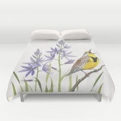 Morning in the Meadow Duvet Cover by Kate Halpin  - $99.00 #Meadowlark #camassia #camaslily #wildflowers