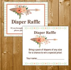 Tribal Diaper Raffle Baby Shower Invitation Insert Girl, Baby Shower Diaper Raffle, Girl Baby Shower, TR003B, Instant Download
