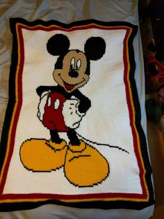 Mickey Mouse lapghan using Tunisian crochet