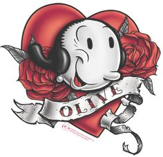 Popeye Cartoon Characters, Disney Characters, Fictional Characters, Couple Tattoos, Tattoos For Guys, Popeye Tattoo, Olive Tattoo, Popeye And Olive, Olive Oyl