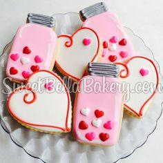 Valentine's Day Cookies - Mason Jar cookies  www.sweetbellabakery
