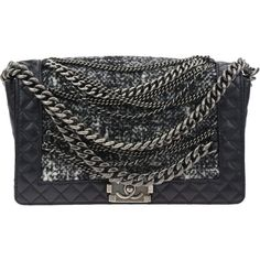 Pre-owned Chanel Black Calfskin Grey Tweed Boy Enchained Flap Bag ($3,195) ❤ liked on Polyvore featuring bags, handbags, chanel handbags, gray purse, chain purse, chain strap purse and gray handbags
