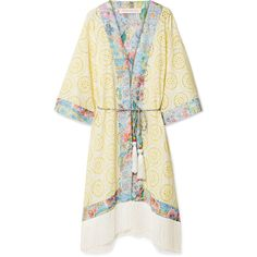Matthew Williamson Deia Fiesta fringed broderie anglaise kimono ($795) ❤ liked on Polyvore featuring intimates, robes, pastel yellow, floral kimono robe, fringe kimono, lightweight robe, floral kimono and long kimono