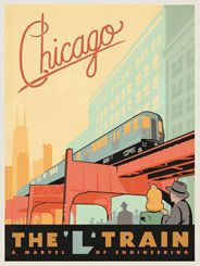 Chicago: L Train - After winning international acclaim for creating the Spirit of Nashville Collection, designer and illustrator Joel Anderson set out to create a series of classic travel posters that celebrates the history and charm of America's greatest cities. He directs a team of talented Nashville-based artists to help him keep the collection growing.