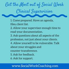 Get the Most our of Social Work Clinical Supervision #clinicalsupervision #socialwork