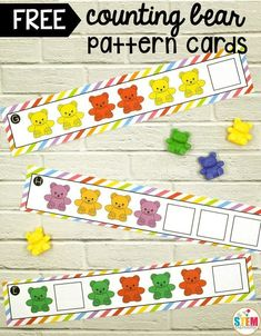 Free Counting Bear Pattern Cards! Great way to work on colors and patterns in preschool and kindergarten. #preschool #kindergarten
