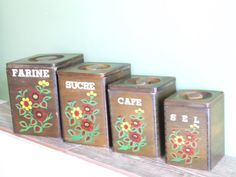 Kitchen Canisters // French Wood Kitchen by VintageRetroOddities