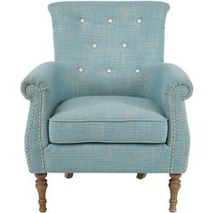 JLA Home Blue Tufted Armchair (9.730 UYU) ❤ liked on Polyvore featuring home, furniture, chairs, accent chairs, blue tufted chair, blue arm chair, blue lounge, tufted armchair and tufted chairs