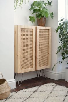 This IKEA hack uses Cane to turn a simple cabinet into a beautiful design . - This IKEA hack uses Cane to turn a simple closet into a design beauty hunker, beauty - Ikea Ivar Cabinet, Shoe Cabinet, Diy Home Decor, Room Decor, Home Decor Hacks, Diy Hanging Shelves, Simple Closet, Diy Wand, Handmade Home Decor