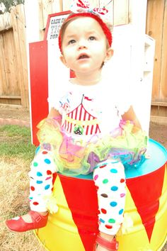 Birthday girl in her circus outfit