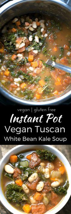 Instant Pot Vegan Tuscan White Bean Kale Soup: pressure cooker Italian