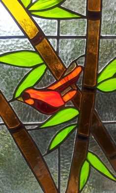 Bamboo bird stained glass window by silvina designs