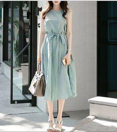 ワンピース・ドレス - ミントグリーンノースリーブ麻綿不規則ワンピース