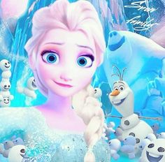 Frozen Fever Selfie - Elsa, Olaf, Marshmallow, and the Snowgies :D <3