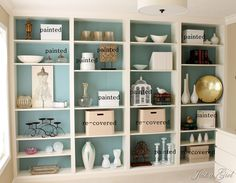 billy bookcase painted teal inside- did this in my bookshelves and used a darker blue from sw called riverway. LOVE IT
