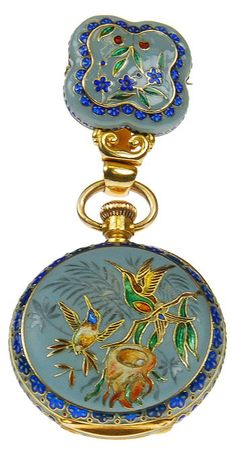 Yellow Gold and Enamel Pendant Watch Depicting A Bird Scene. 18k yellow gold and enamel pendant watch depicting a bird scene, made for the Chinese market. Switzerland, circa 1880.