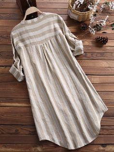 Vertical Striped Stand Collar Long Sleeve Cotton Linen Shirts Source by newchicstylist de moda Iranian Women Fashion, Muslim Fashion, Hijab Fashion, Fashion Dresses, Stylish Dresses, Casual Dresses, Casual Outfits, Kurta Designs Women, Blouse Designs