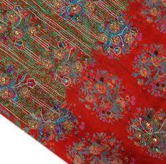 Vintage Sari Hand Beaded ZARI Printed Fabric Pure Silk Indian Craft Saree Red | eBay