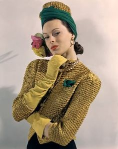 John Rawlings Vogue photograph from the 40's photo print ad mustard yellow and green color jacket hat gloves