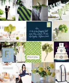 Navy and green?  Add taupe with burlap, cream, - a pop of something?  Hot pink?  (cherry blossoms?)