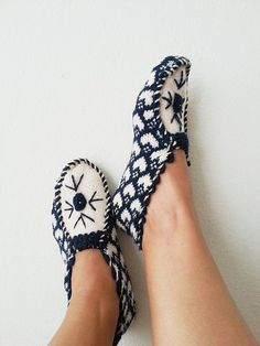 Dark blue and beige ethnic knit slippers authentic by NesrinArt, $26.99