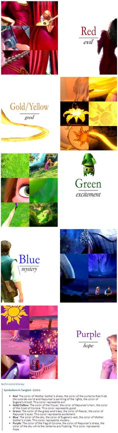 Color symbolism in Tangled// This is so cool! It makes total sense! Disney never ceases to amaze me! - interesting as my favourite colour is purple. Disney Pixar, Walt Disney, Disney Tangled, Disney Facts, Disney Quotes, Disney Girls, Disney And Dreamworks, Disney Love, Disney Magic