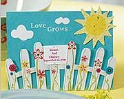 "Love Grows"" Picket Fence with Seeded Paper Sun"
