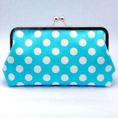 White Polka Dots on Light Blue  Large Clutch by gracefulbanquet, $32.00