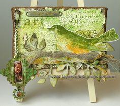 Layers of ink - Spring Bird Burlap Panel