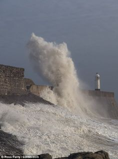 Porthcawl, Wales, was battered by huge waves this weekend...