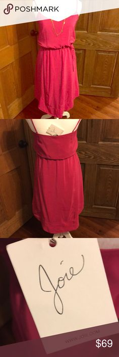 Joie Hot pink silk dress NWT Silk dress from Joie.  Lovely cinched waist that is adjustable.  Has a beautiful high/low hem. Dress is a medium would fit 4-8 depending on how you want it to fit. Joie Dresses Midi