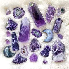 This is what crystal dreams are made of! Available at The Quirky Cup Collective 💕 crystals Crystal Aesthetic, Purple Aesthetic, Minerals And Gemstones, Rocks And Minerals, Crystal Decor, Crystal Magic, Witch Aesthetic, Crystal Meanings, Rocks And Gems