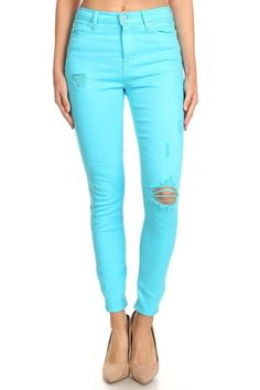 Neon is Now Bright Blue High-Rise Jeans Neon Colors, All The Colors, Bright Blue Jeans, Blue Skies, Girl Gang, High Rise Jeans, Metal Buttons, Colored Jeans, Casual Outfits