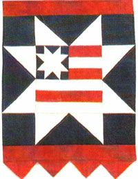 "Stars and Stripes Petite Quilt Pattern by Thimble n Thread at KayeWood.com. The small size of ""Petite Quilts"" make them quick to construct. They are perfect for beginner pieces, gift items or charity auctions. Use your favorite form of applique. A variety of techniques are used on pieces, including ""appli-quilting"", 3 dimensional flowers, beads and buttons and more. Designed to use a fat quarter for backing. Put a 16"" rod pocket on the back to hang. http://www.kayewood.com/item/Stars_and_Str..."