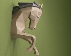 Horse Paper Head PDF Papercraft DIY Gift 3D Trophy Origami