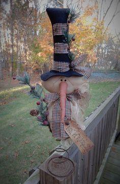 FOLK Art PrimiTive ChrisTmas Holiday WinTer SNOWMAN DOLL Tree Topper DecoraTion #Primitive #MelissaHarmon