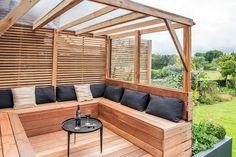 Covered garden bench with storage – Outdoor Backyard Seating, Backyard Patio Designs, Outdoor Pergola, Outdoor Seating, Backyard Landscaping, Pergola Kits, Garden Seating Areas, Patio Ideas, Deck Bench Seating