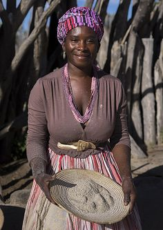 Ovambo Woman With Traditionnal Clothing, Ondangwa, Namibia by Eric Lafforgue, via Flickr