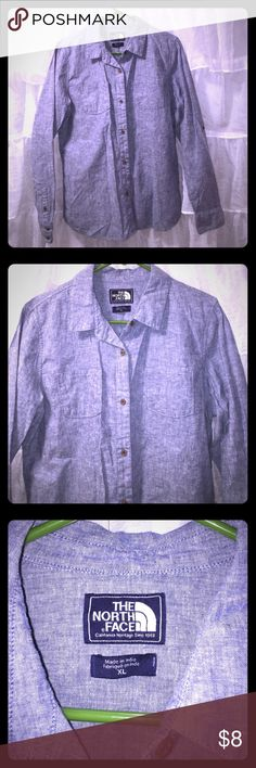The North Face long sleeve flannel Blue denim, super cute shirt The North Face Tops Button Down Shirts