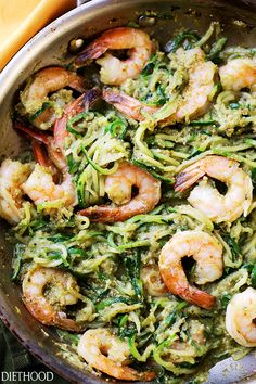 Pesto Zucchini Noodles and Shrimp - Quick and easy dinner recipe with tender zucchini noodles and perfectly sauteed shrimp tossed in a delicious basil pesto sauce. Healthy Noodle Recipes, Zucchini Noodle Recipes, Zoodle Recipes, Shrimp Recipes, Raw Food Recipes, Fish Recipes, Easy Dinner Recipes, Cooking Recipes, Bon Appetit