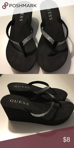 FLASH SALE - Guess Black Wedge Sandal Studded black Wedge sandal - used good condition minimal to no signs of wear Guess Shoes Sandals
